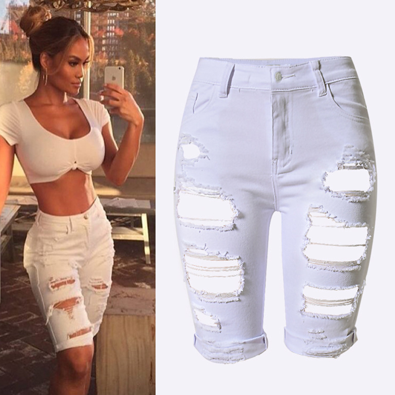 Summer Plus Size New Fashion Women Short Denim Pants Hole Ripped High Waist Jeans Pants Sexy Lady Stripe Knee Length Denim Jeans new summer vintage women ripped hole jeans high waist floral embroidery loose fashion ankle length women denim jeans harem pants