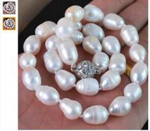 Women Gift Freshwater new fashion 11-13mm waterdrop natural white Akoya cultured pearl necklace magnet clasp elegant jewelry 18 snh aa beautiful new real genuine cultured 11 13mm edison round natural freshwater pearl necklace jewelry design free shipping