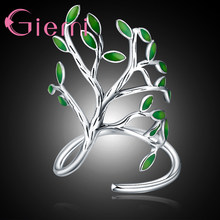 Genuine 925 Sterling Silver Green Tree Leaves Shape Opening Finger Rings 2 Color For Women Men Crystal Jewelry Gift(China)