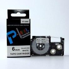 10 pçs/lote EZ-LABEL XR-6WE BLACK ON WHITE label tape compatível impressora kl 7400