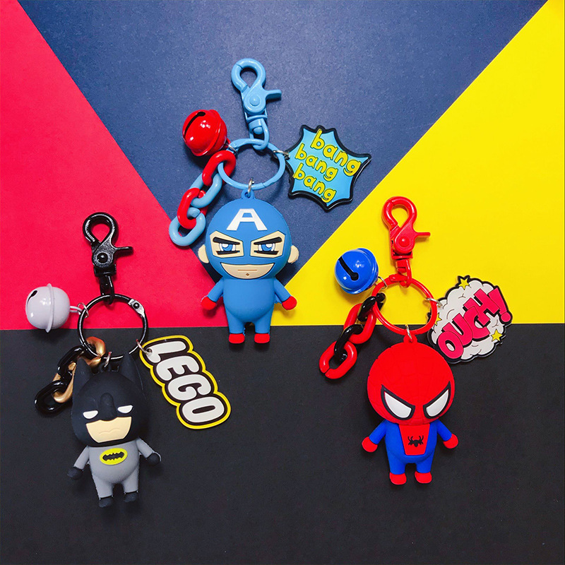 Cartoon Avengers Captain America Spiderman Batman Keychain Key Ring Bag Ornaments Pendant Kids Toys Doll Keyring