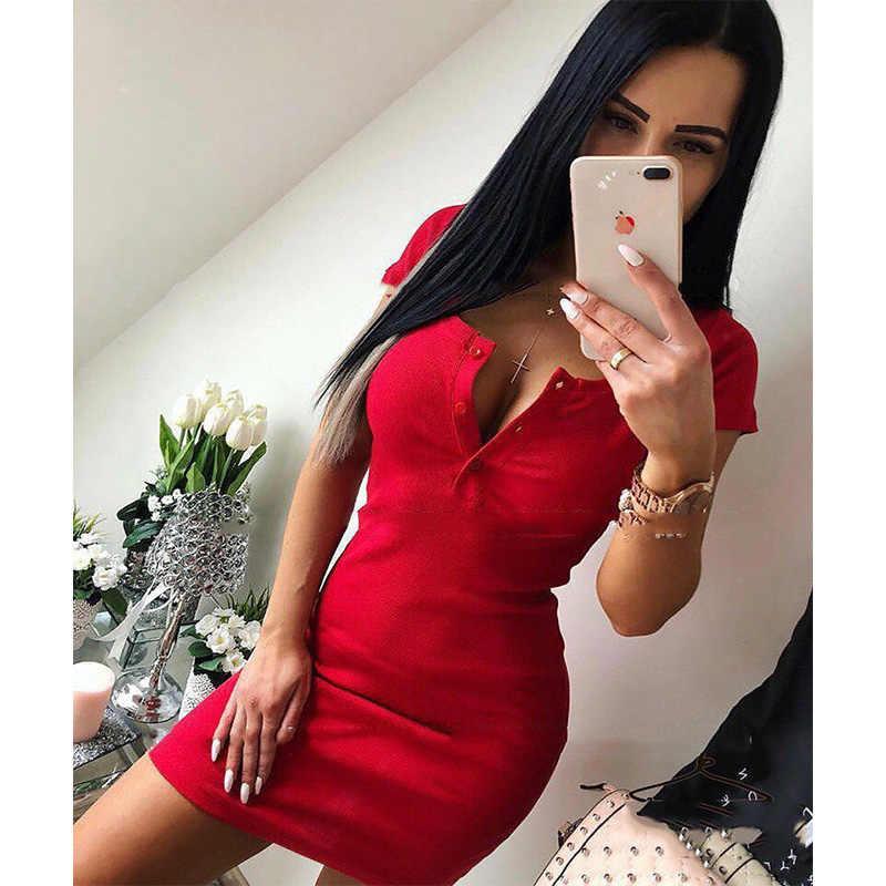Летнее платье 2018 осень для женщин пикантные повседневное вязать мини платье-футляр Дамы Твердые V образным вырезом груди и пуговицы короткий рукав