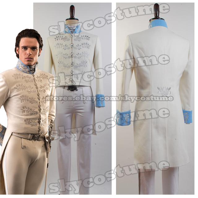Cinderella 2015 Prince Charming Costume Hot Movie Cinderella Prince Uniform Outfit Coat Cosplay Costume Kostuem White Version