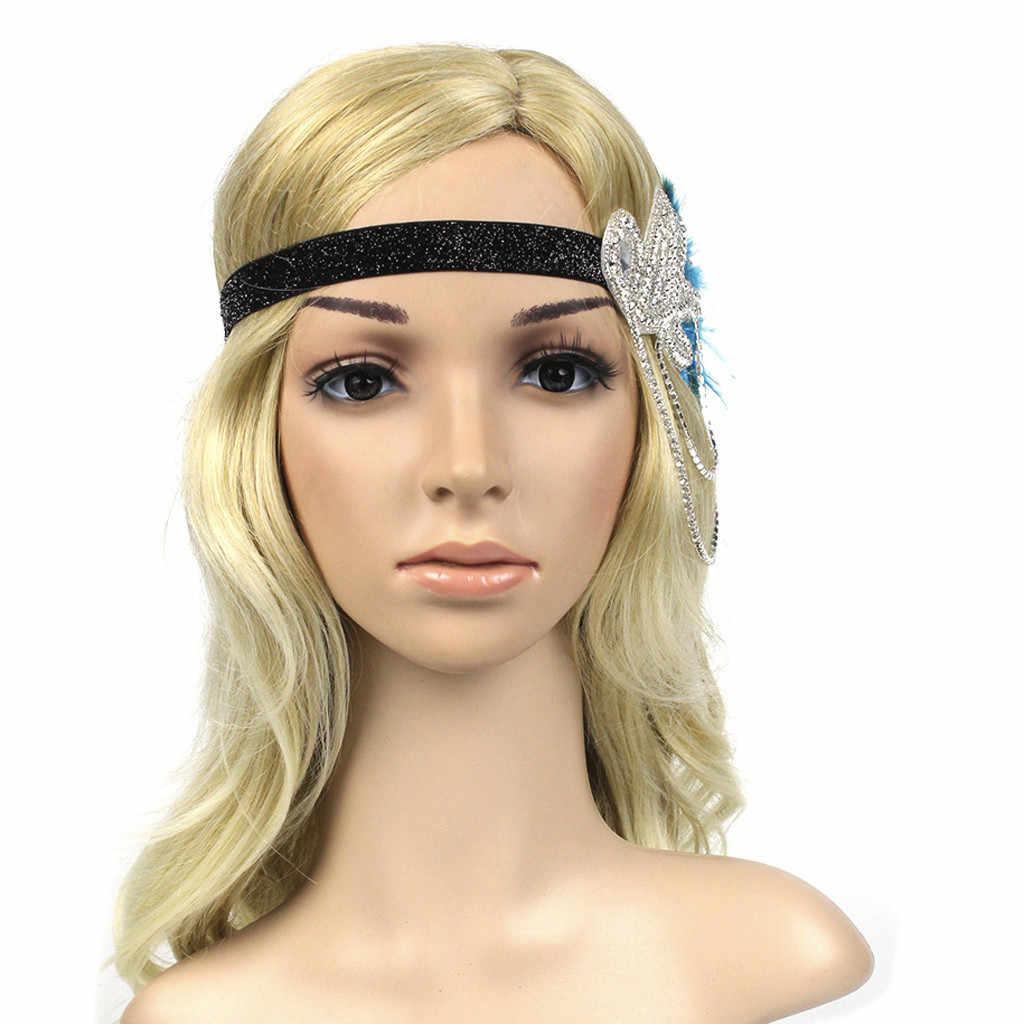 Chaînes noir clapet plume pinces à cheveux pour femmes accessoires cristal perlé solide bandeau 1920s mariage casque mujer # ZC