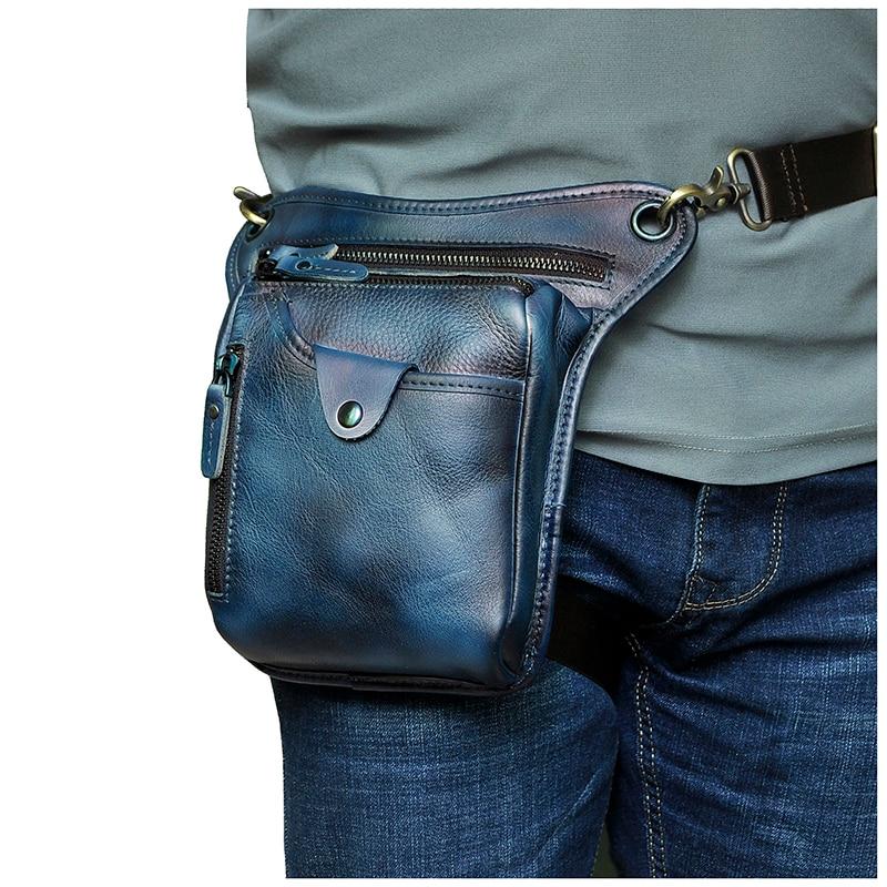 Genuine Leather Men Design Casual Brown Classic Shoulder Sling Bag Fashion Travel Fanny Waist Belt Pack Leg Bag 211-5-LF