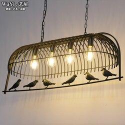 LOFT vintage przemysłowe kute ptak lampa w kształcie wiszącej klatki oświetlenie wiszące dla restauracja/bar jadalnia