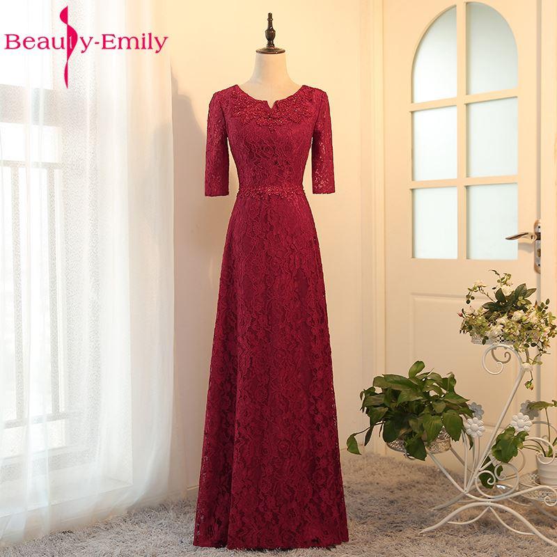 Custom-made Long Red Evening Dress Boat Neck A-line Three Quarter Lace Up Bride Dress