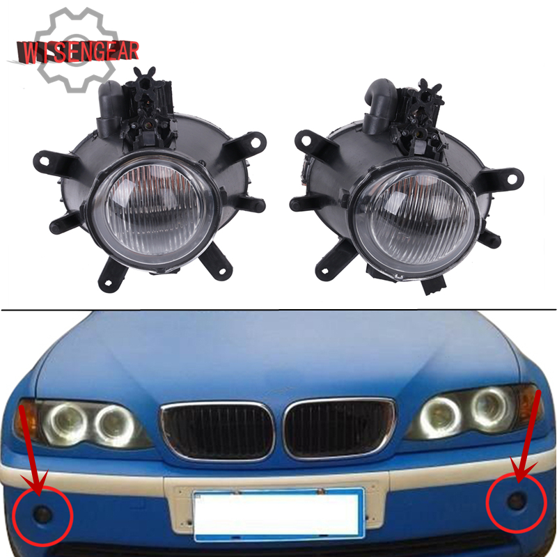 Car Lights Front Bumper Fog Light Fog Lamp Assembly For BMW E46 330i 325i 330Xi 325Xi 3 Series 4-Door Models 2001-2005 W083 for opel astra h gtc 2005 15 h11 wiring harness sockets wire connector switch 2 fog lights drl front bumper 5d lens led lamp