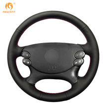 MEWANT Black Genuine Leather Car Steering Wheel Cover for Mercedes Benz E-Class W211 E230 E280 E350 CLS-Class CLS350 CLS500