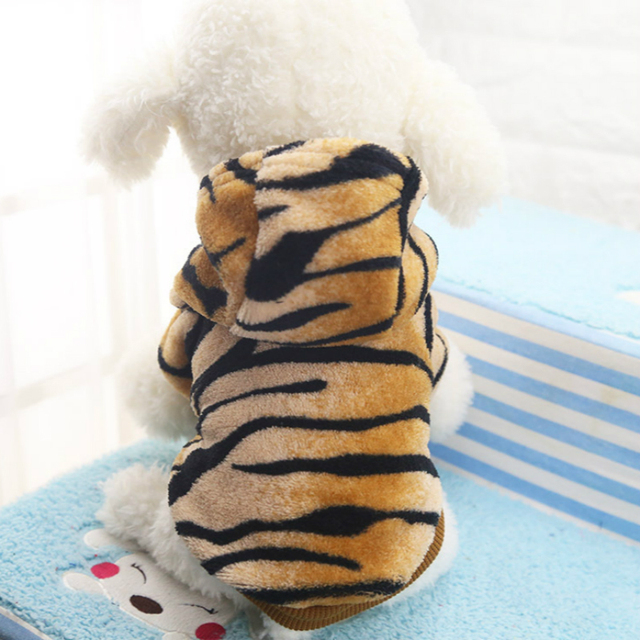 Cute Tiger Turn Cucciolo Vestiti Caldi di Inverno Pet Vestiti Del Cane Con Cappu