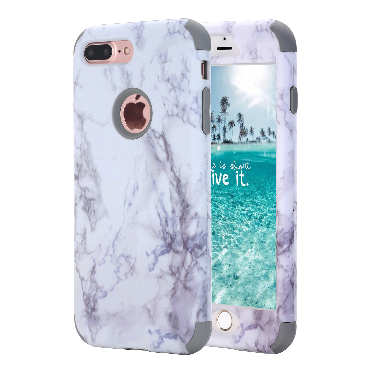 Marble for iPhone X Phone Cases Sturdy Hard+Soft Silicone
