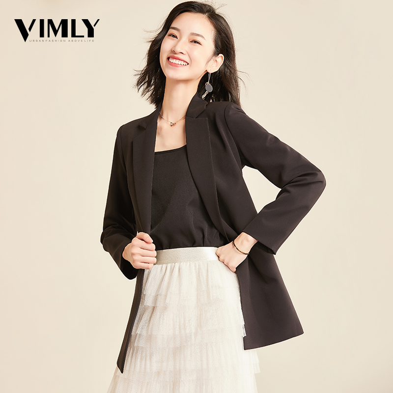 Vimly Women Chic Solid Blazer Elegant Office Suit Top Pockets Double Breasted Long Sleeve OL Wear Coat Female Casual Outerwear