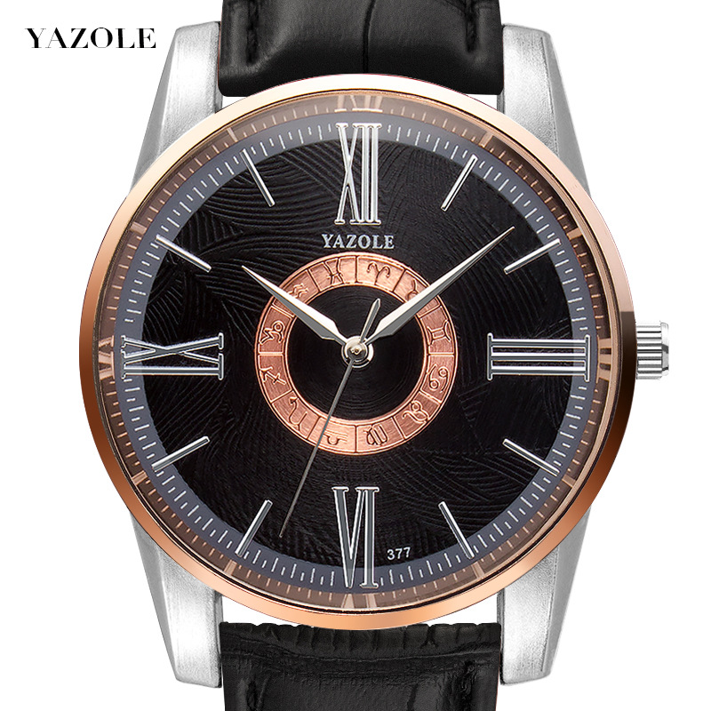 YAZOLE Quartz Watch Men Watches Fashion Leather Roman numerals Wristwatch Male Wrist Clock For Men Hours Casual reloj hombre