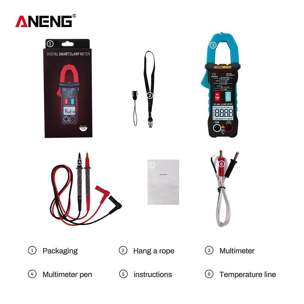 ANENG ST205 цифровой клещи аналоговый мультиметр токовые клещи DC/AC Интеллектуальный автоматический измеритель диапазона с тестером температуры - Цвет: Синий