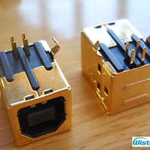 USB B Type Female 90 Degree DIP Connector Gold-plated Terminal with 3u Thickness for HIFI Decoder