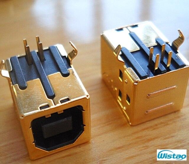USB B Type Vrouwelijke 90 Graden DIP Connector vergulde Terminal met 3u Dikte voor HIFI Decoder Accessoires DIY gratis Verzending