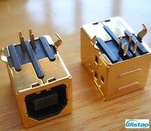 USB Typ B Weibliche 90 Grad DIP Steckverbinder vergoldete Terminal mit 3u Dicke für HIFI Decoder Zubehör DIY freies Verschiffen