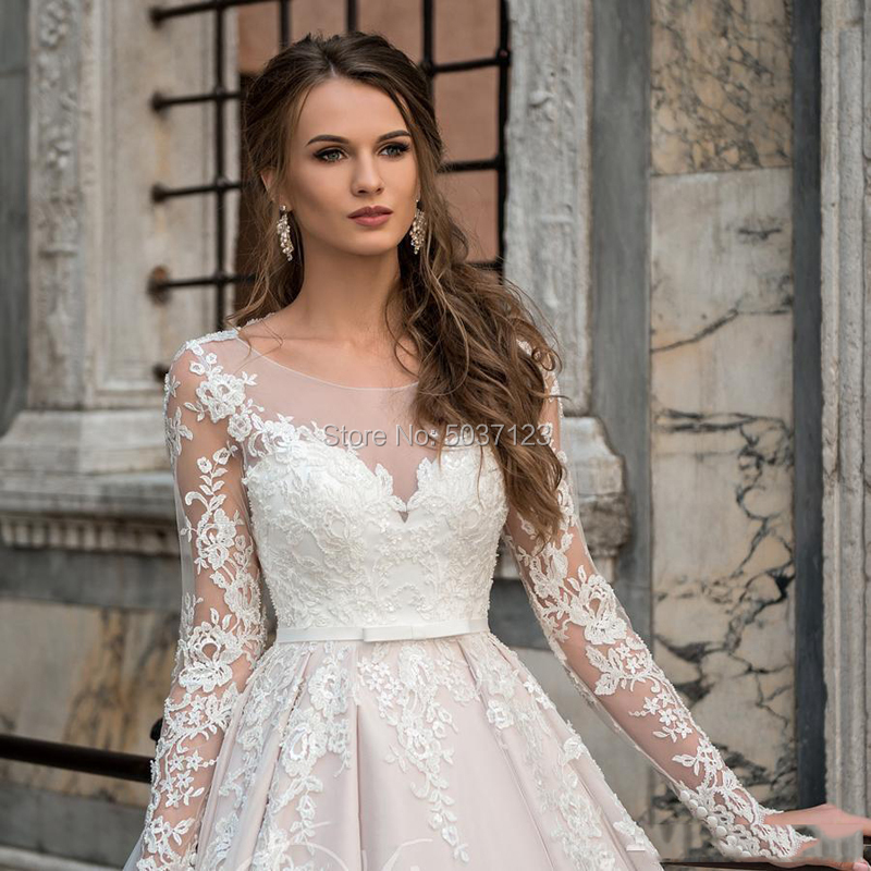 Image 3 - Pink Ball Gown Wedding Dresses Lace Appliques Vestidos De Noiva Long Sleeves Scoop Illusion Bridal Gown Robe De Mariee-in Wedding Dresses from Weddings & Events