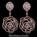 Nigerian Design Rose Gold Plated Micro Pave Clear CZ Synthetic Diamond Long Dangle Drop Rose Flower Earrings For Ladies ER233