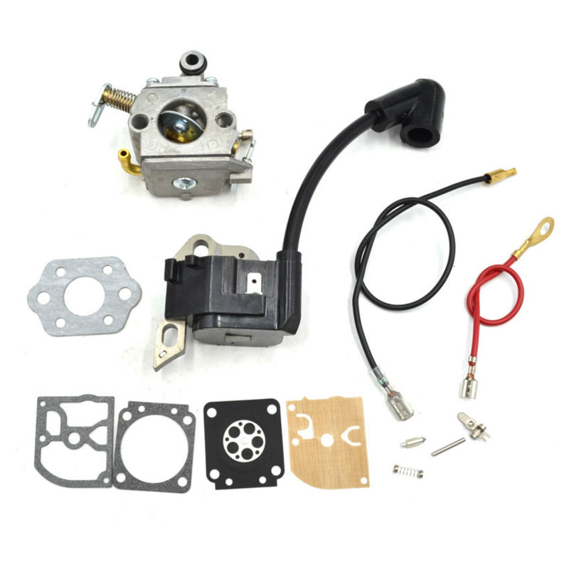 MS180 Chainsaw Coil Ignition Module with Terminal Socket and ZAMA Carburetor Carbs with Gasket Repair Kits for Stihl 017 018 MS1 chainsaw carburetor ignition coil with carbs gasket fuel filter spark plug replacement parts for husqvarna 50 51 55 chain saws