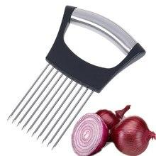 Rebanadoras de cebolla de acero inoxidable, soporte para trituradoras de tomates y verduras, herramientas de cocina para rebanar carne, queso, bloques, aguja