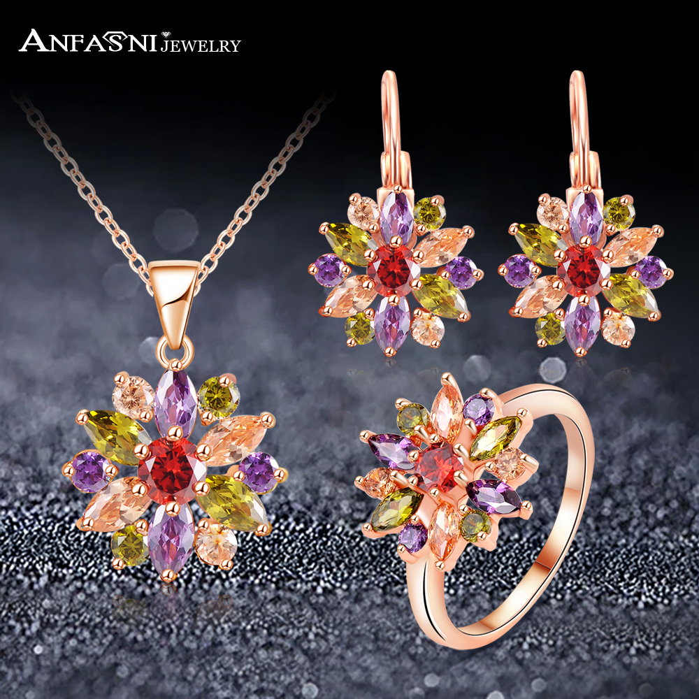 ANFASNI High Quality Rose Gold Color Jewelry Sets For Women With Multicolor AAA Zircon Luxury Elegant Jewelry Gift CST0051