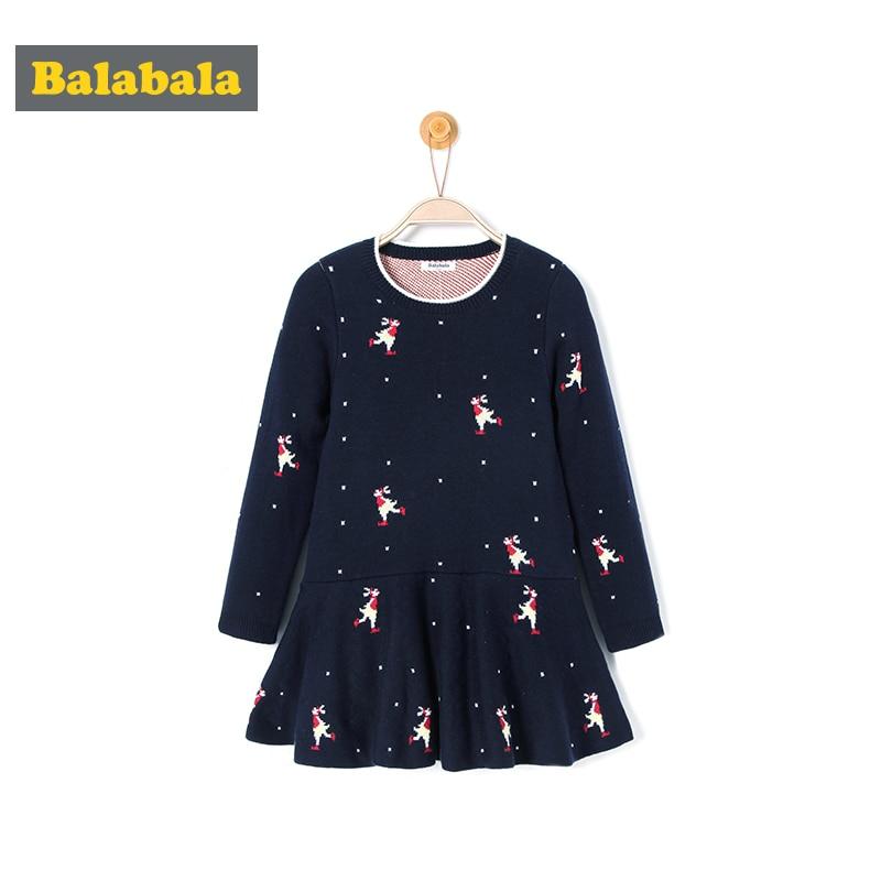 balabala Baby Girls Dresses spring Brand Kids RUFFLES knitting Dress for children Clothes Christmas Princess scallop Dress  цена и фото