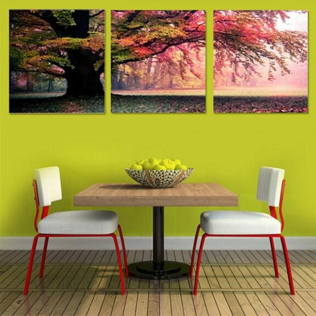 3Pcs/ Set Sofa Background Wall Decor Beautiful Red Tree HD Picture ...