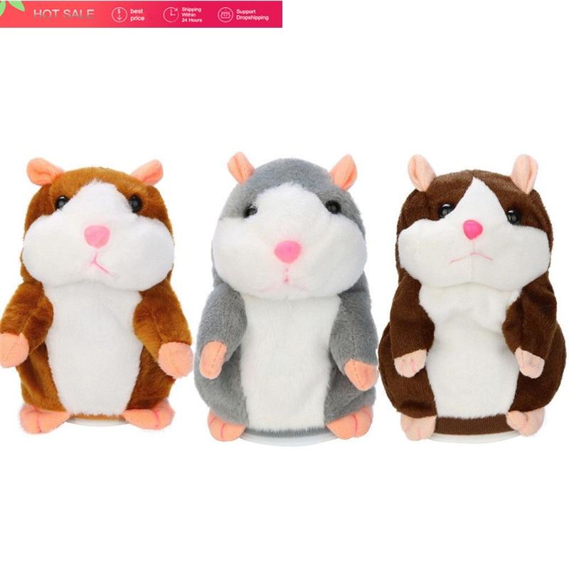 2018 Talking Hamster Mouse Pet Peluche Giocattolo Imparare A Parlare Elettrico Record Hamster Educativi Per Bambini Giocattoli di Peluche Regalo di 15 cm
