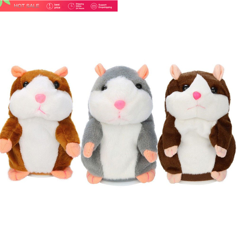 2018 Talking Hamster Mouse Pet Plush Toy Learn To Speak Electric Record Hamster Educational Children Stuffed Toys Gift 15cm