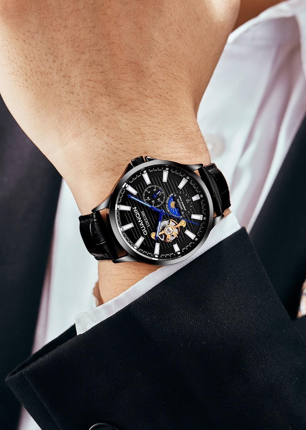 GUANQIN 2019 new watch men waterproof Automatic Luminous men watches top brand luxury skeleton clock men leather erkek kol saati