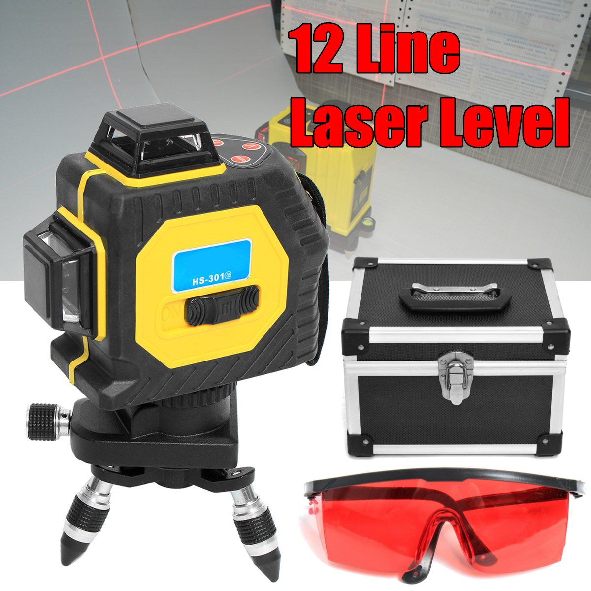 3D Laser Level 12 Lines Red 360 Degree Outdoor Infrared Laser Levels Projection Instrument Self Leveling Tripod Rotary Cross Kit xeast xe 17a new 3d red laser level 8 lines tilt mode self leveling meter 360 degree rotary cross red beam