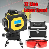 3D Laser Level 12 Lines Red 360 Degree Outdoor Infrared Laser Levels Projection Instrument Self Leveling