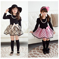 Весна девочка принцесса плед осень малышей с длинным рукавом малыша девочек точка пачка платье для 2 ~ 7 лет