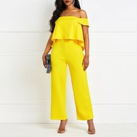 Sexy Off Shoulder Wide Leg Jumpsuit Women Long Overalls Ruffle Party Stylish Backless Yellow High Waist Causal Jumpsuits Female