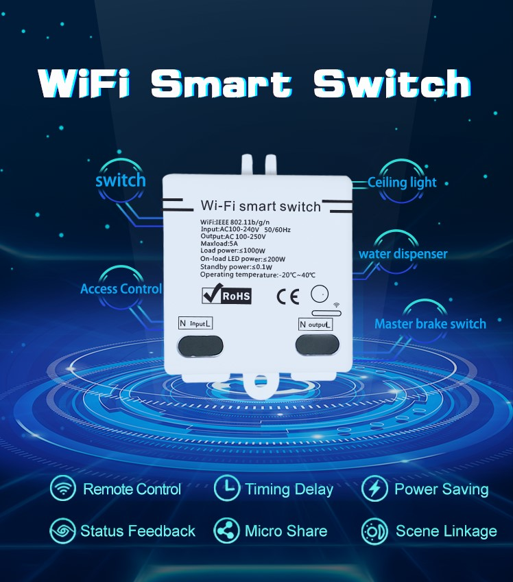 eWelink APP Smart Home Wifi Switch Small Size 1way Wireless Remote Control  Automation Module DIY Timer Universal 5A AC 90-250V