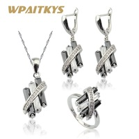 Black Created Sapphire White CZ Silver Color Jewelry Sets For Women Bridal Drop Earrings Necklace Pendant