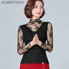 AOSSVIAO Mock Neck Blouse Sexy Womens Long Sleeve Tops Black White High Elegant Slim 2019 Lace Chemise Femme Shirts