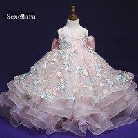 Реальное изображение для девочек в цветочек платья Платья для церемонии причастия Vestido Longo 2018 Платья для девочек, Q002 вечерние и свадебные Вы