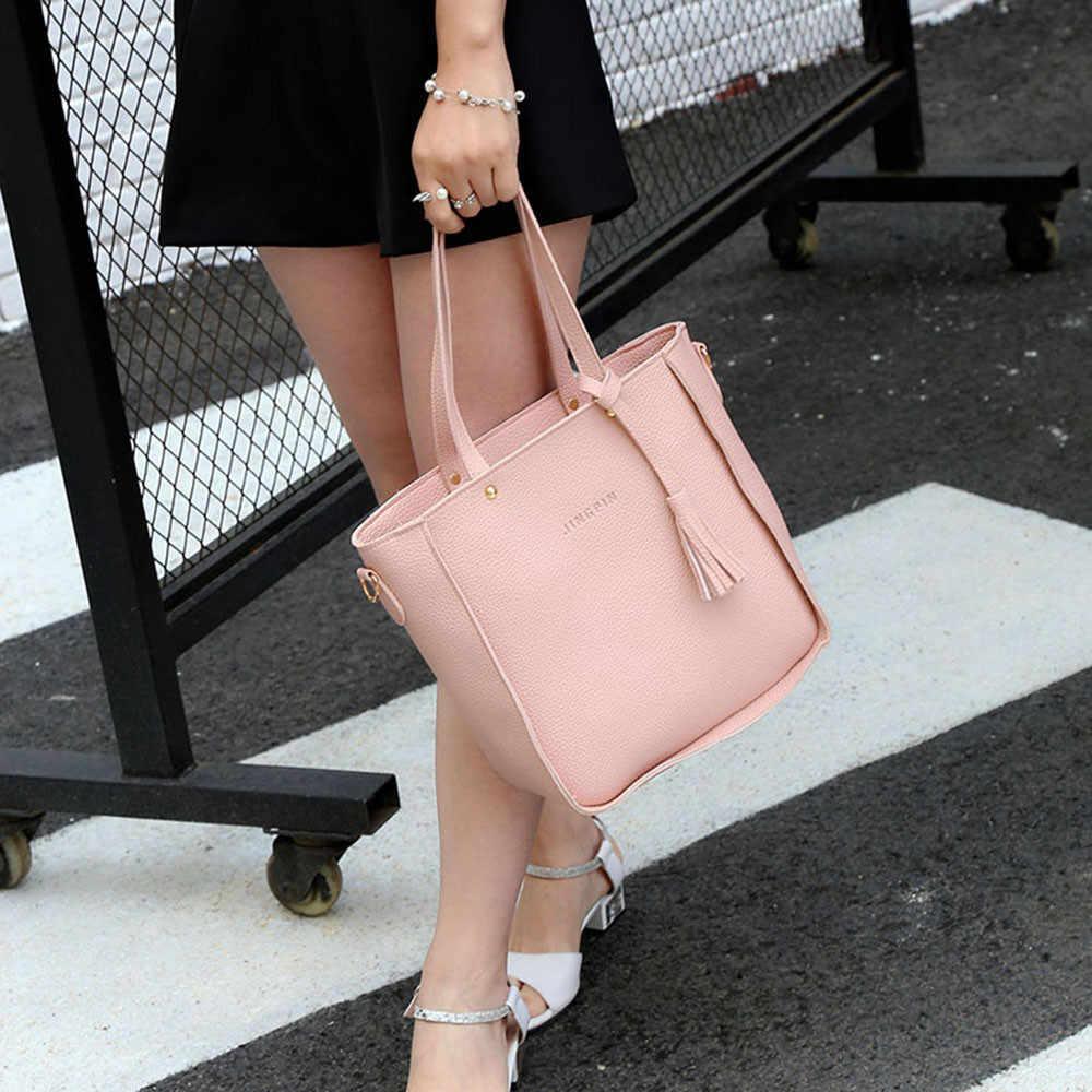 4 шт./компл., женская сумка, сумки на плечо, нагрудники, вместительная сумка, кошелек, модная женская сумка из искусственной кожи, сумка через плечо, ансамбль де Сак