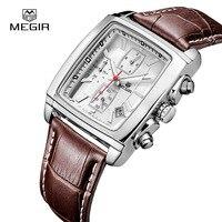 MEGIR Top Band Quartz Men Watch Genuine Leather Watches Men Chronograph Watch Male Luminous Clock Relogio