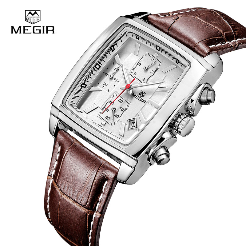 MEGIR Top Band Quartz Men Watch Genuine Leather Watches Men Chronograph Watch Male Luminous Clock Relogio Masculino 2028