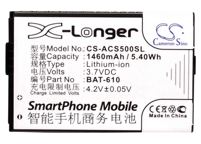 Cameron Sino High Quality Battery BAT-610, BAT-610 (1/CP5/44/62), BT.0010S.006 for Acer Cloud Mobile, CloudMobile S500, S500Cameron Sino High Quality Battery BAT-610, BAT-610 (1/CP5/44/62), BT.0010S.006 for Acer Cloud Mobile, CloudMobile S500, S500