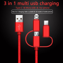 3 in 1 Multi USB Charger For iphone XS X 5 6 7 quick multi charging Lightning micro usb type c Cord charge the phone Cable