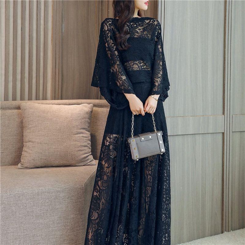 2019 Summer Women Vintage Hollow Out Lace Sets Female Elegant Batwing Sleeve Solid Shirt+Elastic Waist Wide Leg Pant Suits Z314 3