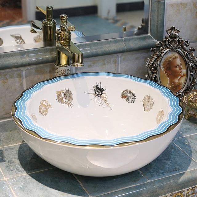 Antico Lavello In Ceramica.Us 277 0 Rotonda Occidentale Antico Cinese Bagno Bacino Lavaggio A Mano In Ceramica Colorata Ciotole Lavabo Lavello Lavandino Del Bagno Ciotola Di