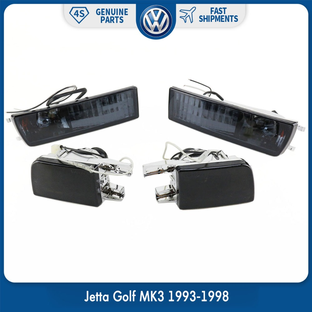 Pair Front Bumper Smoke Lens Fog Lamp Signal Light Lights for VW Volkswagen Jetta Golf MK3 1993-1998 цены