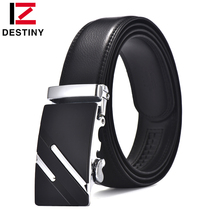 DESTINY leather belt men automatic metal buckle high quality cowhide strap male for jeans cowather luxury famous brand designer