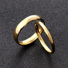4 мм 2 мм золото титановая сталь пара кольцо для мужчин и женщин