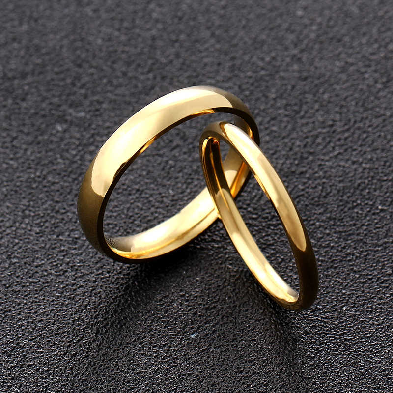 4mm 2mm Gold Titanium Steel Couple Ring for Men and Women
